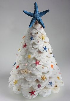 Christmas tree made out of shells