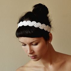BRIDAL HAIR BAND wedding hair accessory crochet lace lacy oryginal and delicate retro style white color