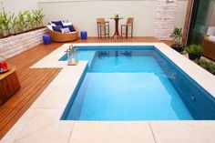 Welcome to our custom swimming pool design ideas where we feature many terrific pool designs including in-ground, custom shape, covered, indoor, infinity a Small Backyard Pools, Backyard Pool Designs, Small Pools, Swimming Pools Backyard, Swimming Pool Designs, Pool Decks, Pool Landscaping, Backyard Decks, Pool Spa