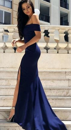 Mermaid Off Shoulder Prom Dress, Sexy Prom Dresses with Slit,Navy blue Long Evening Party Dress