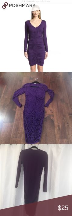 Three dots purple dress worn once Side ruching is so forgiving. Sexy dress with stretch. Excellent condition Three Dots Dresses Midi
