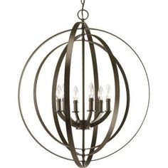 Progress Lighting, Equinox Collection 6-Light Antique Bronze Foyer Pendant, P3889-20 at The Home Depot - Mobile