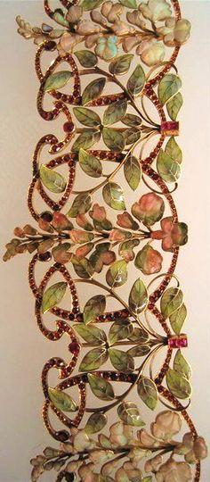 Phillipe Wolfers. Enamel, gold, garnet and opal choker via Jewelry Nerd
