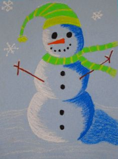 Made these with my Daughter's 1st grade class, and they came out so cute! Snowman With Oil Pastels and Shading