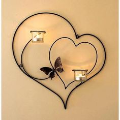 CraftVatika Iron Decorative Double Heart Wall Sconce Candle Holder Hanging Tealight Holders Home Arts Weddings Events Decor Handmade Candle Holders, Wall Candle Holders, Candle Wall Sconces, Candle Stand, Handmade Candles, Support Bougie, Wrought Iron Decor, Iron Furniture, Cheap Furniture