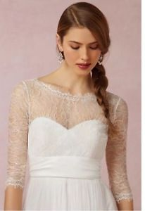BHLDN JENNY YOO Ivory Marnie Lace Topper - Wedding dress cover-up size XS