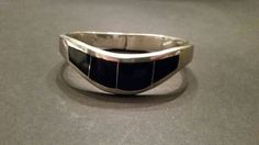 Mexican Silver Bracelet Taxco TC-26 925 Mexico Black Stone Inlay Sterling 49 gr by Stellavintagejewelry on Etsy