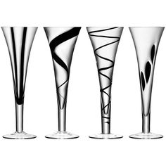 LSA International Jazz Black Assorted Champagne Flutes - Set of 4 ($75) ❤ liked on Polyvore featuring home, kitchen & dining, drinkware, black, black champagne flutes, glass champagne flutes, lsa international, glass tableware and black drinkware