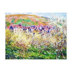 Plum Trees in Blossom at Vetheuil Claude Monet Gallery Wrap Canvas