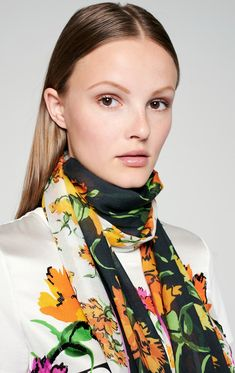 With its vivid marigold floral print, this scarf will instantly lift up your outfit. It's made from a lightweight modal-silk blend that's soft to the touch and drapes beautifully. Summer Scarves, Floral Scarf, One Color, Alexander Mcqueen Scarf, Summer Outfits, Floral Prints, Silk, Beauty, Beautiful