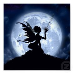 Catch a Falling Star Fairy Silhouette Art Print Poster