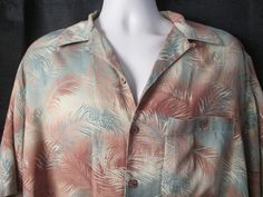 Paradise Coves Mens Shirt Lg 100% Silk Hawaiian Browns Gray Palm Leaves in Clothing, Shoes & Accessories, Men's Clothing, Casual Shirts | eBay