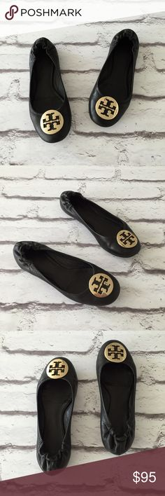 Tory Burch Reva Leather Flats✨ Tory Burch Black/Gold Leather Flats✨ Size: 8.5 Condition: Used  The perfect hello gorgeous flats!These are perfect for all seasons☀️☃These have been worn by me and are a size 8.They have been professionally restored by a shoe repair to smooth the leather.They do not have size tags.I did buy them as a size 8.See signs of wear(see 4th pic)for flaws they do have flaws.They do not come with box.These retail for $225 + tax ❤️  In Bin: F **All items from my closet…