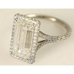 GIA Certified 5 Carat Emerald Cut Diamond Engagement Ring