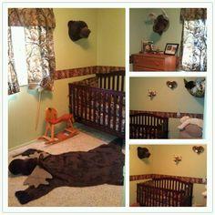 Boys camo hunting nursery. For Baby Howard if he's a boy...love the stuffed animal heads lol