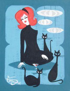 Cats, Mid century and Retro on Pinterest