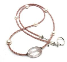 22in long Pink Czech Pearl Seed Beads, White Freshwater Pearls and Rose Quartz Center Necklace | AyaDesigns - Jewelry on ArtFire