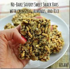 no bake savory sweet snack bars with chia seeds, almonds and puffed rice