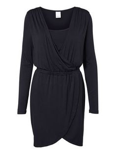 WRAP EFFECT NURSING DRESS, SHORT, Dark Navy