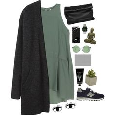 A fashion look from October 2014 featuring green cotton dress, long black cardigan and grip trainer. Browse and shop related looks.