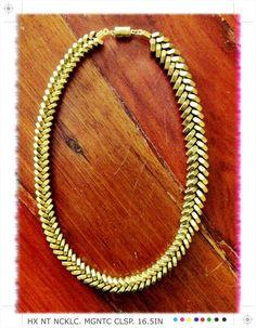 Brass Fishbone Graduated Hex Nut Necklace by sarajainephipps Hex Nut Jewelry, Diy Jewelry, Beaded Jewelry, Jewelery, Diy Clothes Accessories, Jewelry Accessories, Hardware Jewelry, Steam Punk Jewelry, Necklace Tutorial