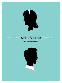 She & Him Concert Poster at Bimbo's 365 Club- San Francisco Nov 2 & 2008 hand made two color silkscreen print poster measures 18 inches x 24 inches hand signed & numbered edition of 200 artist: Jason Munn (The Small Stakes) Gig Poster, Poster Prints, Poster Wall, Art Print, Play Musica, Graphic Design Illustration, Illustration Art, Singer Songwriter, Indie