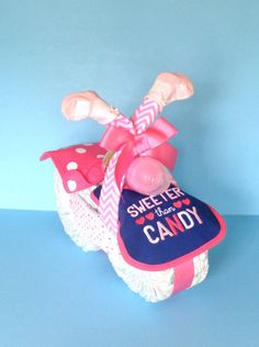 Girl Diaper Motorcycle  Chevron Diaper by PamperedBabyCreation