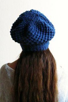 Slouchy Hat Beanie Winter Blue