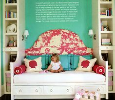 """Ran across this cute girls' room while looking at Quadrille fabrics. The headboard is Paradise Background. The curved """"armrests"""" add some flair."""
