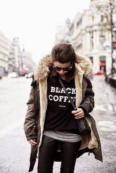 Tişört ile Kışlık Kombin Modası 2015