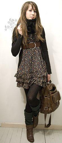 love this look, the dress, belt, cardigan, leggings, boots, bag, the whole freekin shabang.  SO ME. :)
