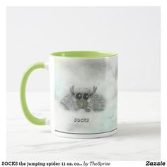 Shop SOCKS the jumping spider 11 oz. combo mug created by TheSprite. Create Your Own Mug, Jumping Spider, Sock Shop, Old Art, Favorite Color, Dinnerware, Coffee Mugs, Handmade Jewelry, Socks