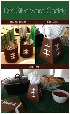 After your flowers are gone, re-use the blumebox as a silverware caddy. Shown here is a DIY to create a Football-Silverware-Caddy