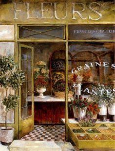 "Photo from album ""Fabrice de Villeneuve"" on Yandex. Vintage Cafe, French Vintage, Flower Pattern Design, Flower Cart, Shabby, Luxury Flowers, Vase Centerpieces, Vintage Flowers, Watercolor Art"