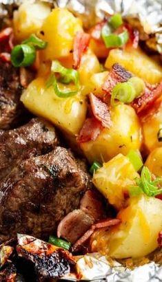 Garlic Steak and Cheesy Bacon Potato Hash Foil Wraps