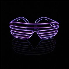 Lerway Neon El Wire LED Lighting Up Shutter Funny Glowing Glasses Amazing Cool Eye Mask + Voice Controller, Novelty Fashion Gift for Women Men Child Adult Kids (Purple)