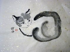 An original cat chinese brush painting on gold-speckled rice paper, by the artist Tracey Allyn Greene.