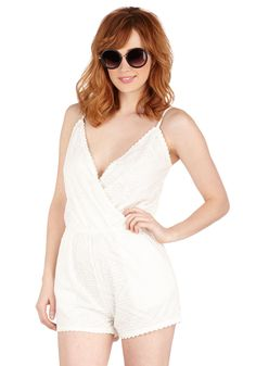 Sunday Sweetheart Romper. Thanks to their easygoing vibe, Sundays are perfectly tailored to your personality - as is this lacy white romper! #white #modcloth