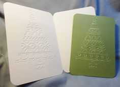 Set of 10 Olive green Christmas cards, 4.5 x 6.25, Embossed Christmas Tree, Sandable, Matching Seals