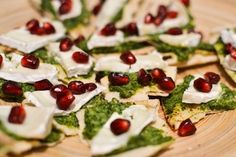 Parsley Pesto, Goat's Cheese and Pomegranate by @Urvashi Roe