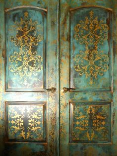 new image blue bedroom doors gilded.jpg provided by Johanna's Design Studio: Faux Painting, Venetian Plaster, Custom Murals 1-360-513-8939 V...