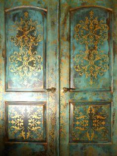 new image blue bedroom doors gilded.jpg provided by Johanna's Design Studio: Faux Painting, Venetian Plaster, Custom Murals 1-360-513-8939 V...