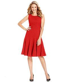 27b922b918e Calvin Klein Petite Sleeveless Pleated A-Line Dress   Reviews - Dresses -  Women - Macy s
