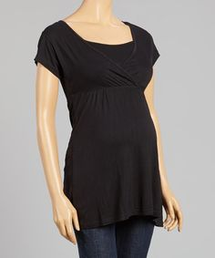 This Black Maternity/Nursing Surplice Top is perfect! #zulilyfinds