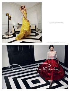 Black and White Floors  http://www.brides.com/blogs/aisle-say/2012/01/oscar-de-la-renta-carolina-herrera-spring-2012-ads.html
