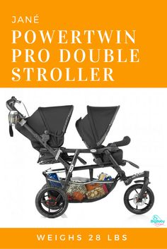 JanéPowertwin Pro is a great double stroller designed for the enjoyment of your nature.  With its revolving wheel and brake, this genuine all-terrain vehicle is very safe out in the wild.