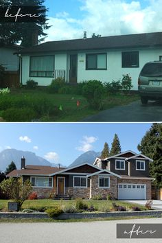 Before & After: Garibaldi. Stage 1: Kitchen, dining and master suite renovation. Stage 2: Garage, 2-beds and 1-bath addition. Stages designed by Potts Design