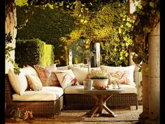 {outdoor living area} Torrey All-Weather Wicker Sectional Set Outdoor Retreat, Outdoor Rooms, Outdoor Living, Lounge Furniture, Garden Furniture, Outdoor Furniture Sets, Antique Furniture, Modern Furniture, Pottery Barn Outdoor