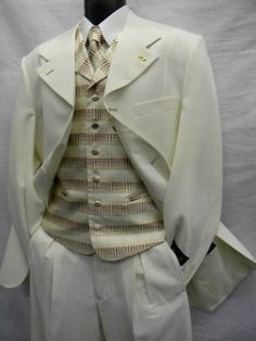 Falcone Mens Cream  Planet Vested Fashion Suit 3150-007 Size 40 Long Only