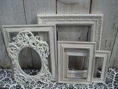 Distressed+PICTURE+FRAMES++Heirloom+White++Set+of+by+VintageEvents,+$69.00 master bedroom wall idea with wedding photos